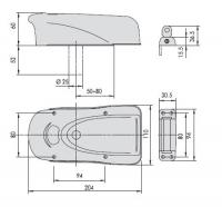 CISA 1А631 ELEKTRIKA. Накладной электромеханический замок с роторным ригелем для деревянных дверей