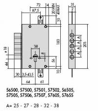 CISA 57505-48 Замок под ключ с вертик. приводом 5-ти риг + накладка без торц пл.